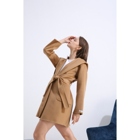 DOUBLE-SIDED WOOL OVERCOAT WITH LUXURY LARGE LAPEL HOODE AND WATER RIPPLE