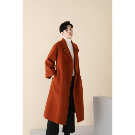 CLASSIC DOUBLE-SIDED WOOL OVERCOAT WITH WATER RIPPLE