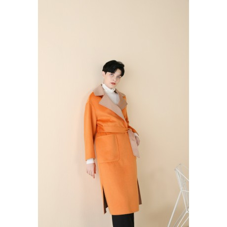 DOUBLE-SIDED WOOL OVERCOAT WITH WATER RIPPLE